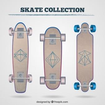 Skateboards mit geometrischen zeichnungen