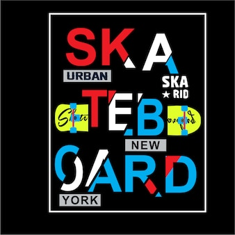 Skateboardtypographiet-shirt grafikvektoren für klumpen