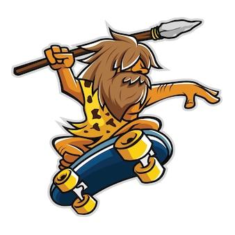 Skater caveman hält speer