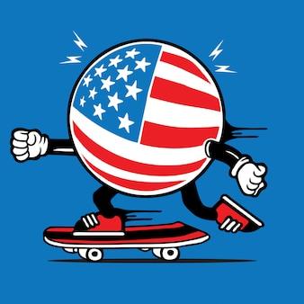 Skater-skateboard-charakter der amerikanischen flagge