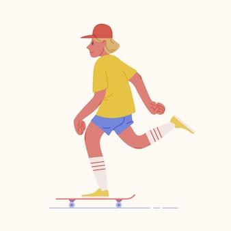 Skater-teenager oder skateboarder, der skateboard reitet. junger mann mit mütze oder kinderskateboarding