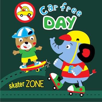 Skater-tierkarikaturvektor am freien tag des autos