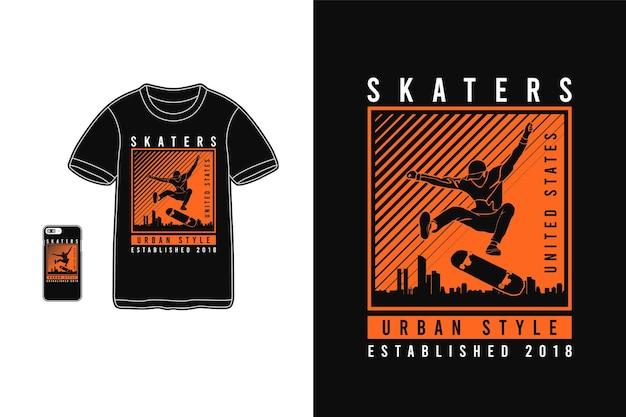 Skater urbanen stil, t-shirt design silhouette stil