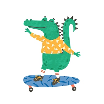 Skating kleine krokodil flache illustration