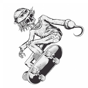 Skeleton junge fahren skateboard