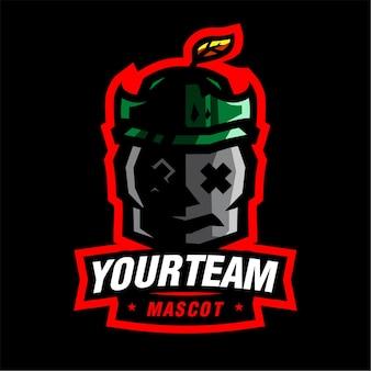 Skeleton knight maskottchen-gaming-logo