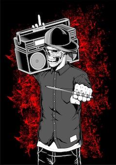 Skeleton rapper, der boombox vektorillustration hält