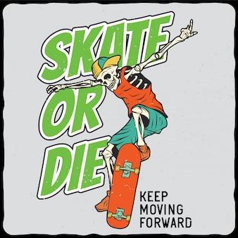Skelett auf dem skateboard
