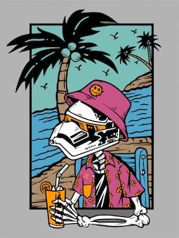 Skelett, das mit cocktail am strand kühlt
