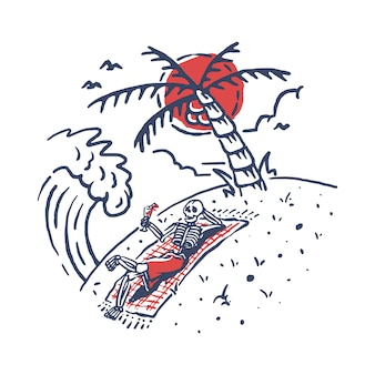 Skelett entspannen sich sommer-strand-illustration