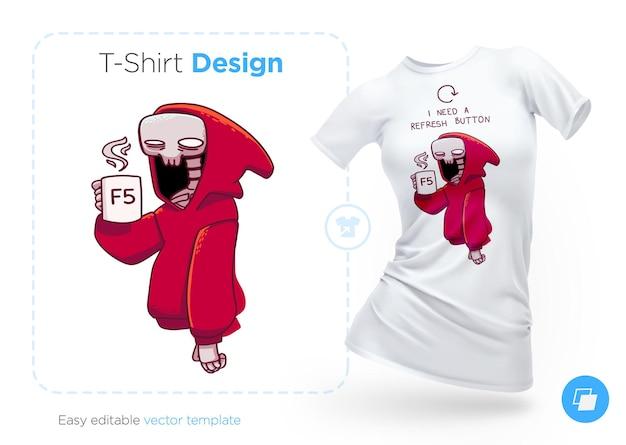 Skelett in einem hoodie mit einer tasse kaffee-t-shirt-design print für kleidung