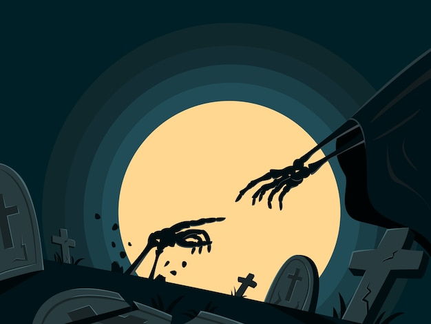 Skelett ist in grab für halloween wallpaper wiederbelebt.