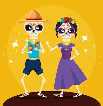 Skelett mit hut tanzt mit catrina