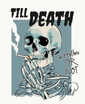 Skelett rauchen cigarrete karikaturillustration