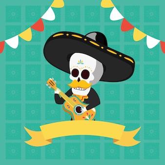 Skelett spielt gitarre