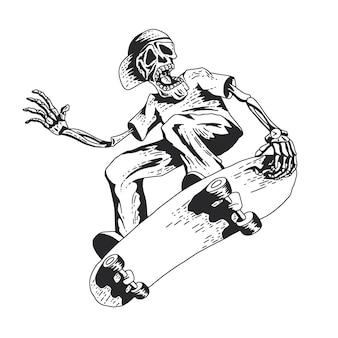 Skelett spielt skateboard