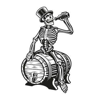 Skelett trinkt eine flasche bier auf einem fass sitzend