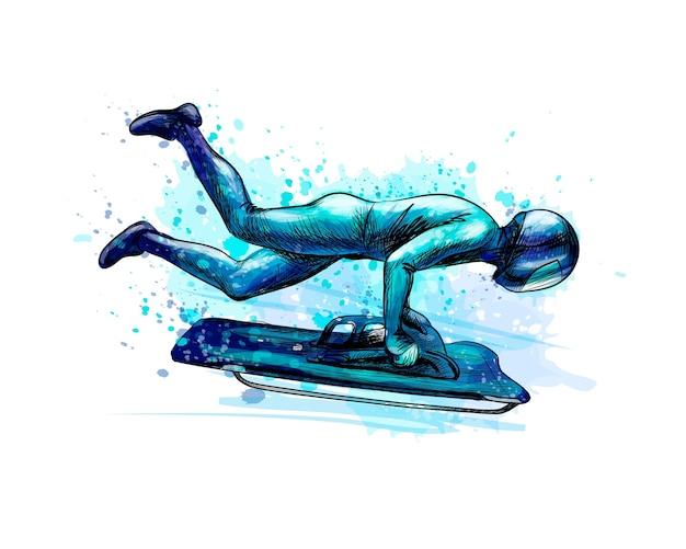 Skelett vom spritzen von aquarellen. hand gezeichnete skizze. wintersportabfahrt auf einem schlitten. illustration von farben