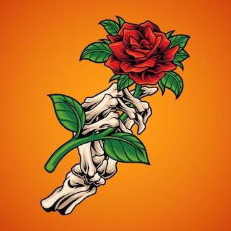 Skeletthand, die rose hält Premium Vektoren