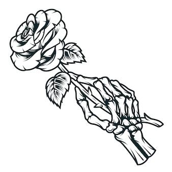 Skeletthand, die rosenblume hält