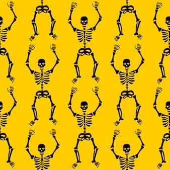 Skelettmuster auf gelbem grund