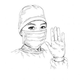 Sketch doctor zeigt die geste stop infection. frau, die medizinische gesichtsmaske und kappe trägt. hand gezeichnetes porträt der jungen ärztin.