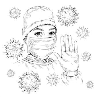 Sketch doctor zeigt geste stop infection. frau, die medizinische gesichtsmaske und kappe trägt. covid-19 coronavirus-schutz. hand gezeichnetes porträt der jungen ärztin.