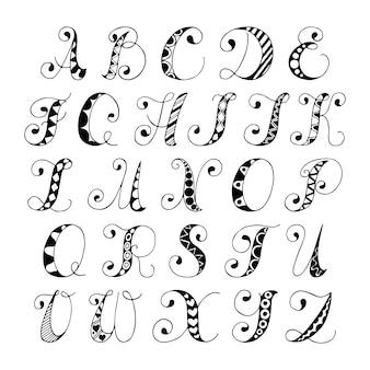 Sketch hand gezeichnet alphabet schwarz und weiß schriftart buchstaben isoliert vektor-illustration