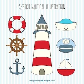 Sketch nautischen illustration