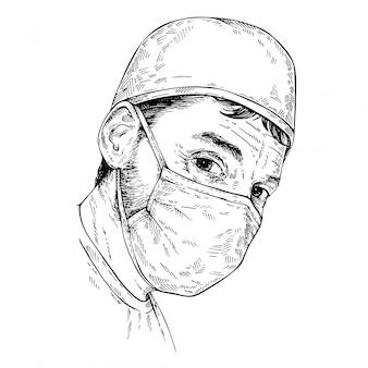Sketch surgeon. doktor, der medizinische gesichtsmaske und kappe trägt. hand gezeichnetes porträt des arztes, des arztes.