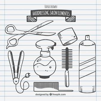 Sketches friseursalon elemente Kostenlosen Vektoren