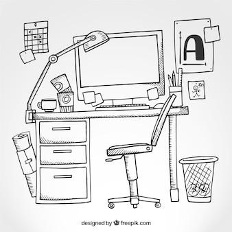 Sketchy desktop mit einem computer