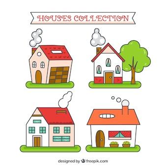 Sketchy häuser sammlung Kostenlosen Vektoren