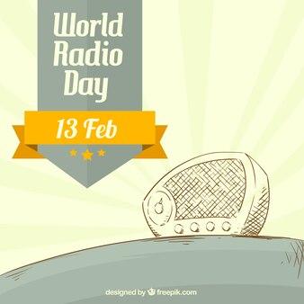 Sketchy radio im vintage-stil hintergrund