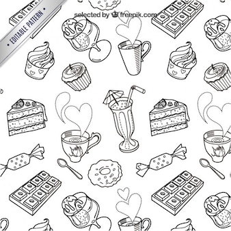 Sketchy süßigkeiten muster