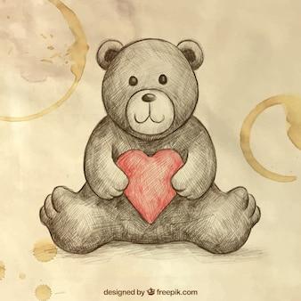 Sketchy teddybär mit kaffeeflecken