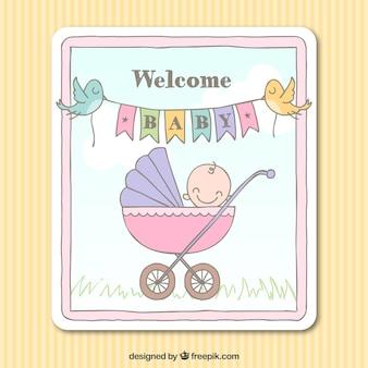 Sketchy willkommen baby-karte