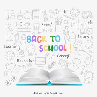Sketchy zurück zu schule-hintergrund