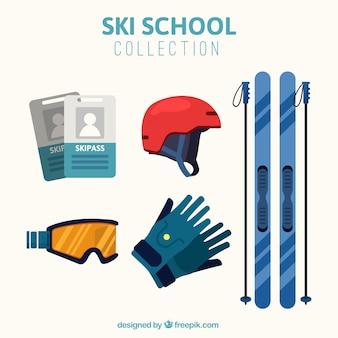 Ski-accessoires kollektion in flaches design