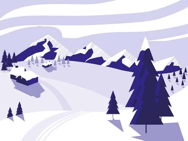 Ski camp schneelandschaft szene