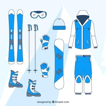Ski-kleidung und zubehör-set
