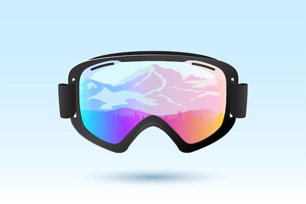 Ski- oder snowboardbrille mit reflexion der berge. vektor-illustration.
