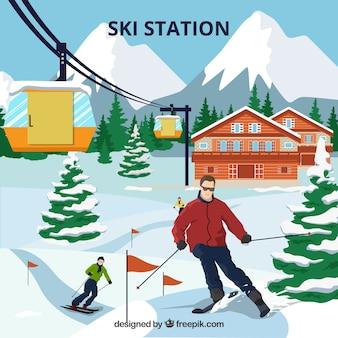 Ski resort design mit skifahrer