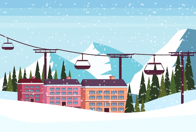 Ski resort hotel mit seilbahn