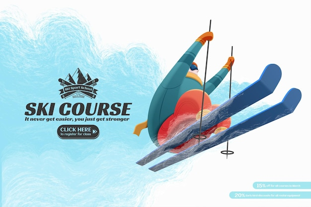Ski-resort-kurs-anzeigen mit professionellen skifahrern, die in der luft-tiefwinkel-ansicht springen