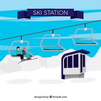 Ski station design in flachen stil