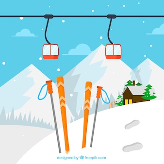Ski station design mit himmel im schnee