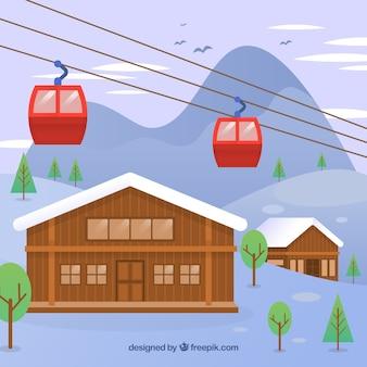 Ski station design mit holzhaus und roten aufzug