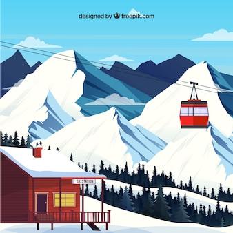 Ski station design mit schöner landschaft