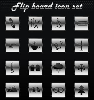 Ski-vektor-flip-mechanische symbole für das design der benutzeroberfläche